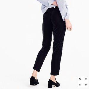 J Crew black velvet easy pants ankle crop 6